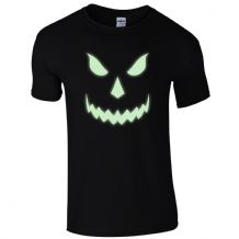 Halloween Scary T-Shirt - Pumpkin Glow In The Dark Face Unisex Mens Gift Top